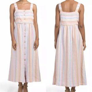 C&C California Linen Knit Stripe Button Midi Dress